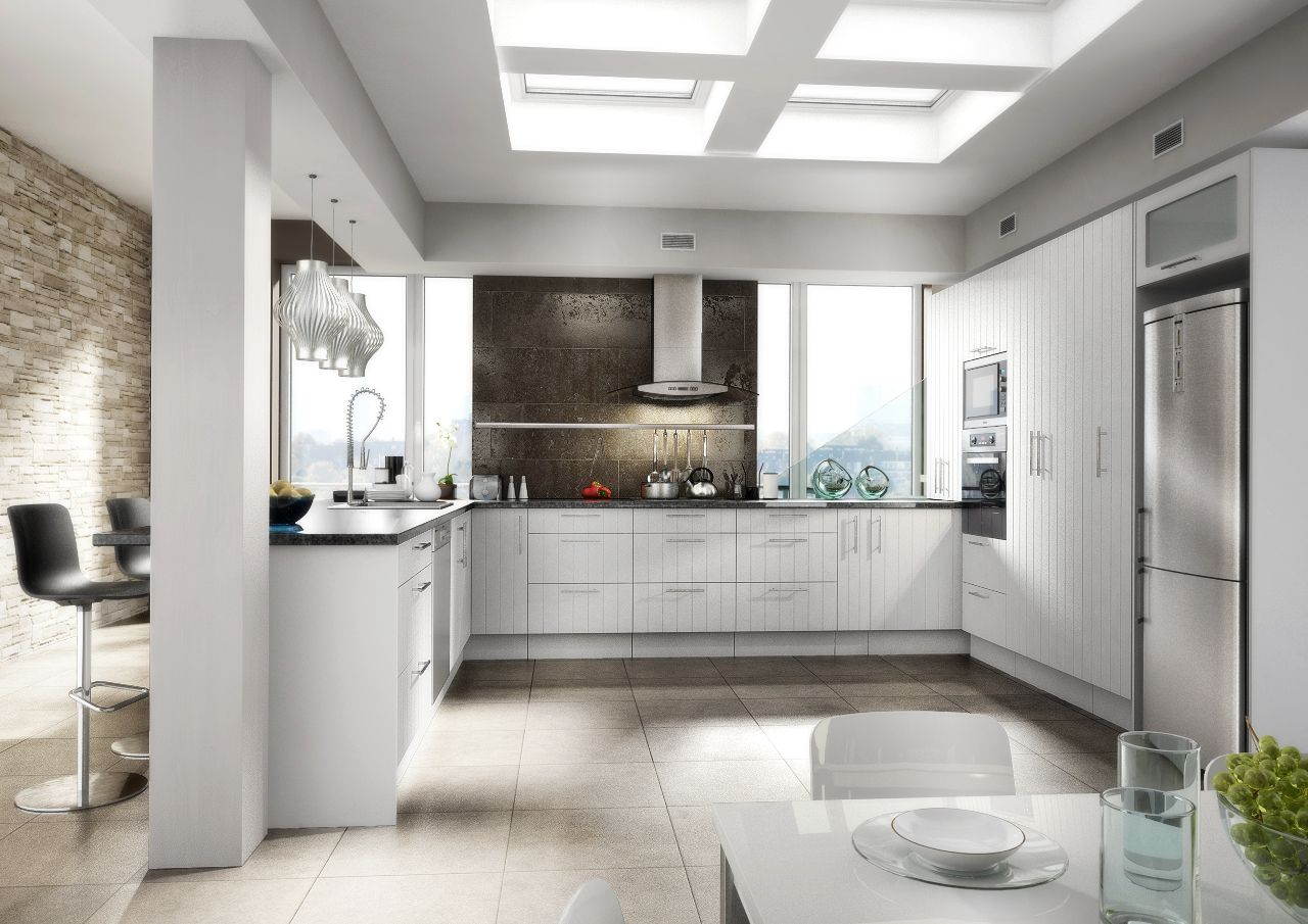 EURO - premium european kitchen. Style - artic white U-shaped
