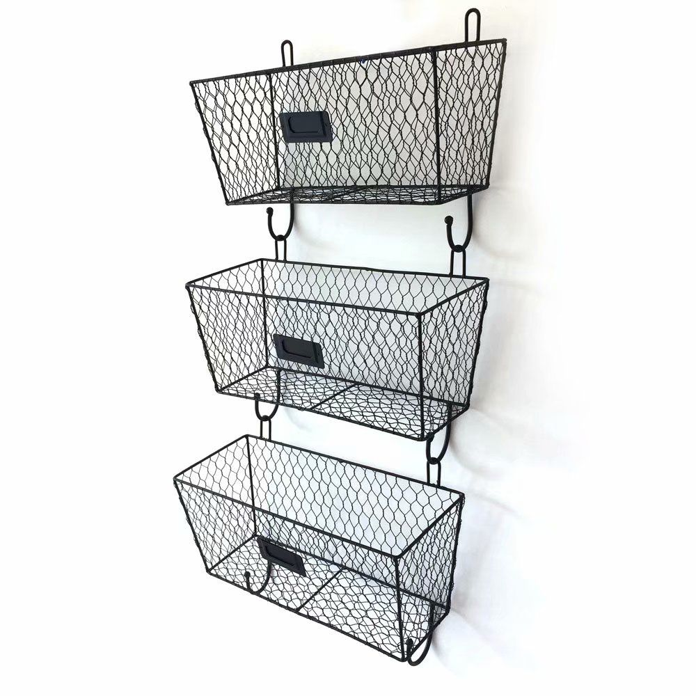 Akoyovwerve 3pcs Wire Letter Mail Mount Metal Rack Basket