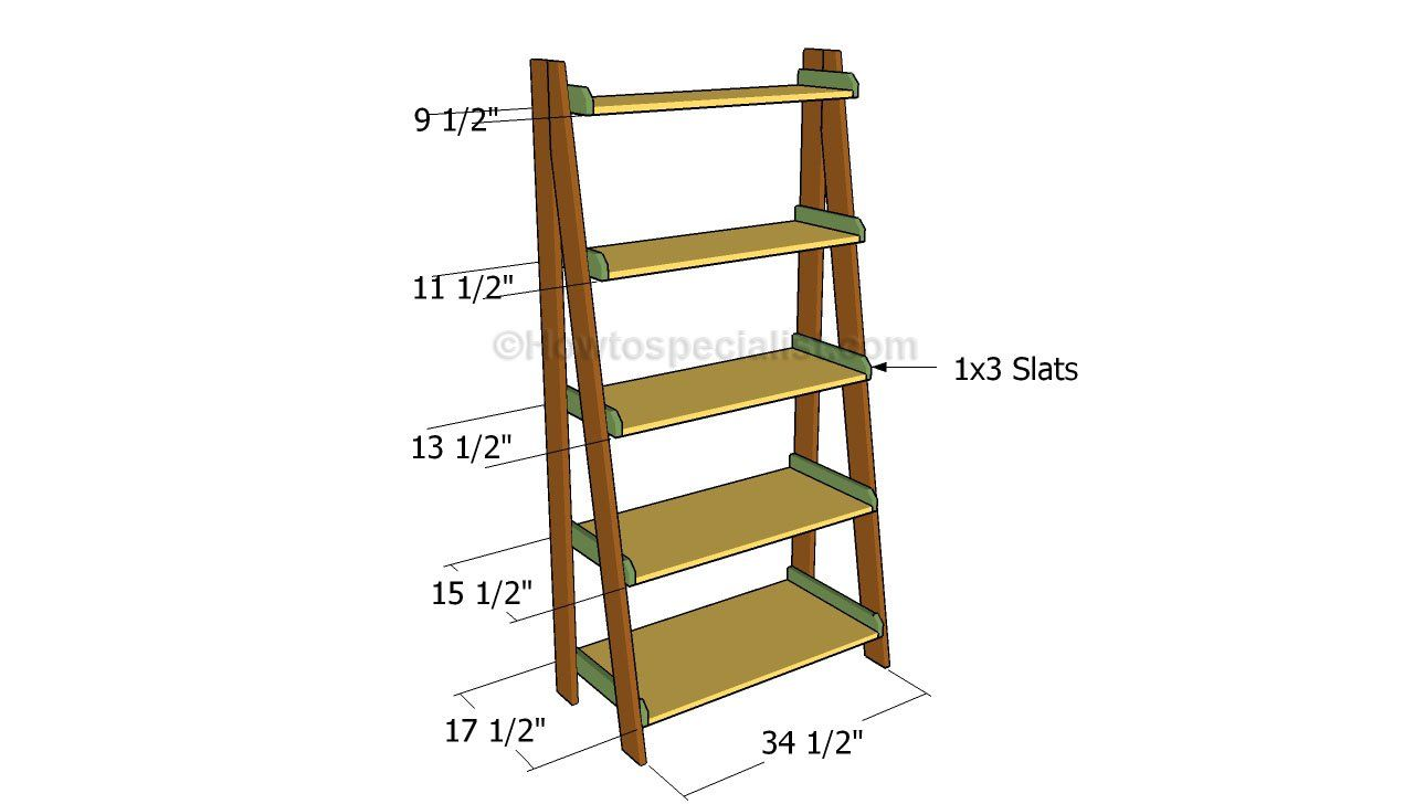 Ladder Shelves Plans Howtospecialist How To Build Step By Step Diy Plans Bookshelves Diy Wood Ladder Shelf Ladder Shelf
