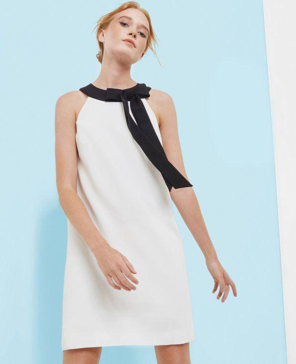 Tie collar tunic dress