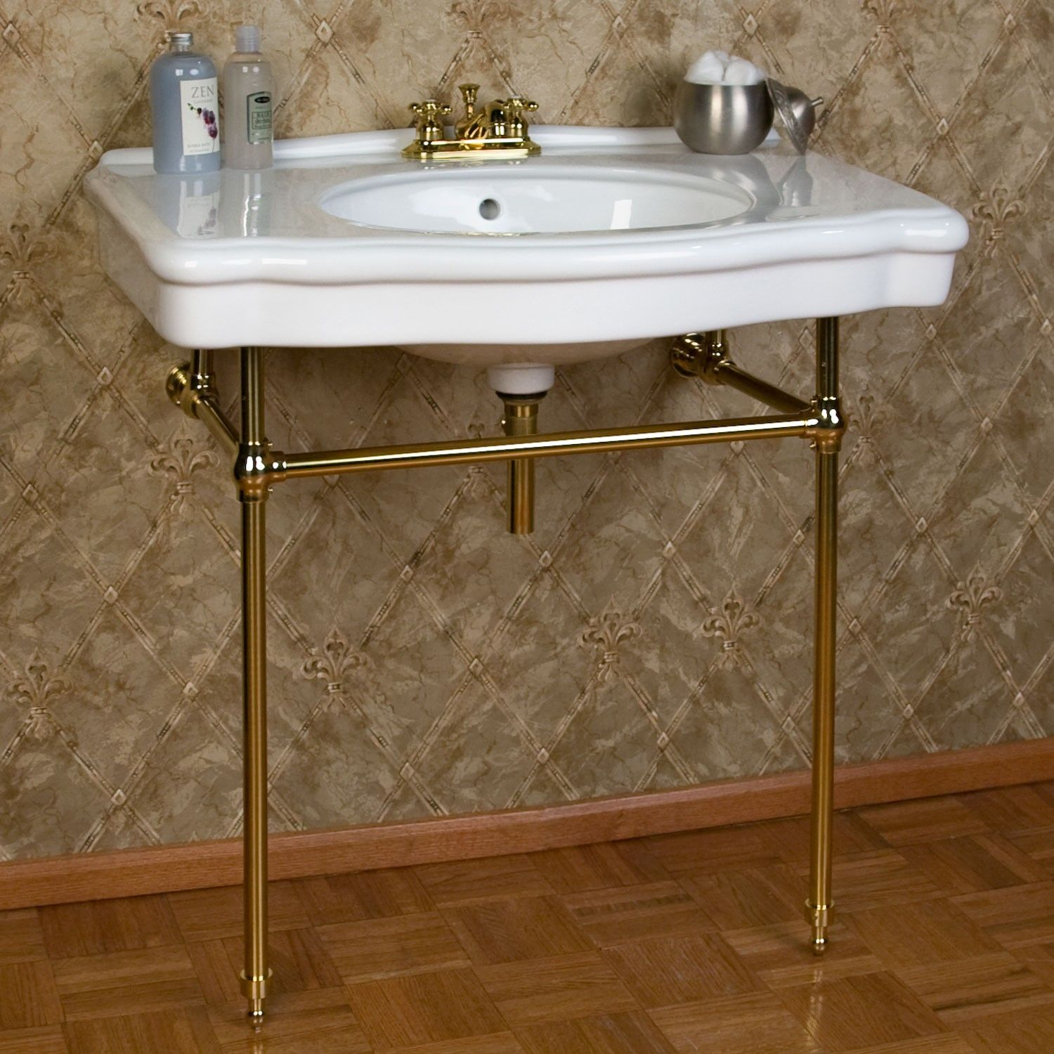 Pennington Porcelain Console Sink with Brass Stand | Consoles, Sinks ... for Bathroom Basin Stands  303mzq