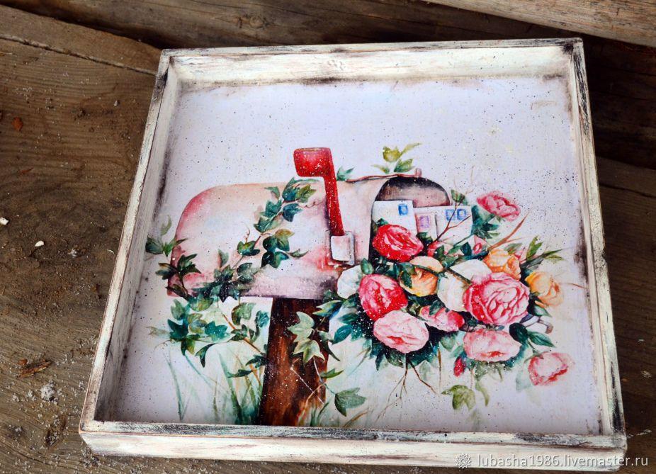 """Купить Поднос- панно, двухсторонний """"Любимый сад"""" - цветы, ретро, винтаж, для дома, поднос, цветочный"""