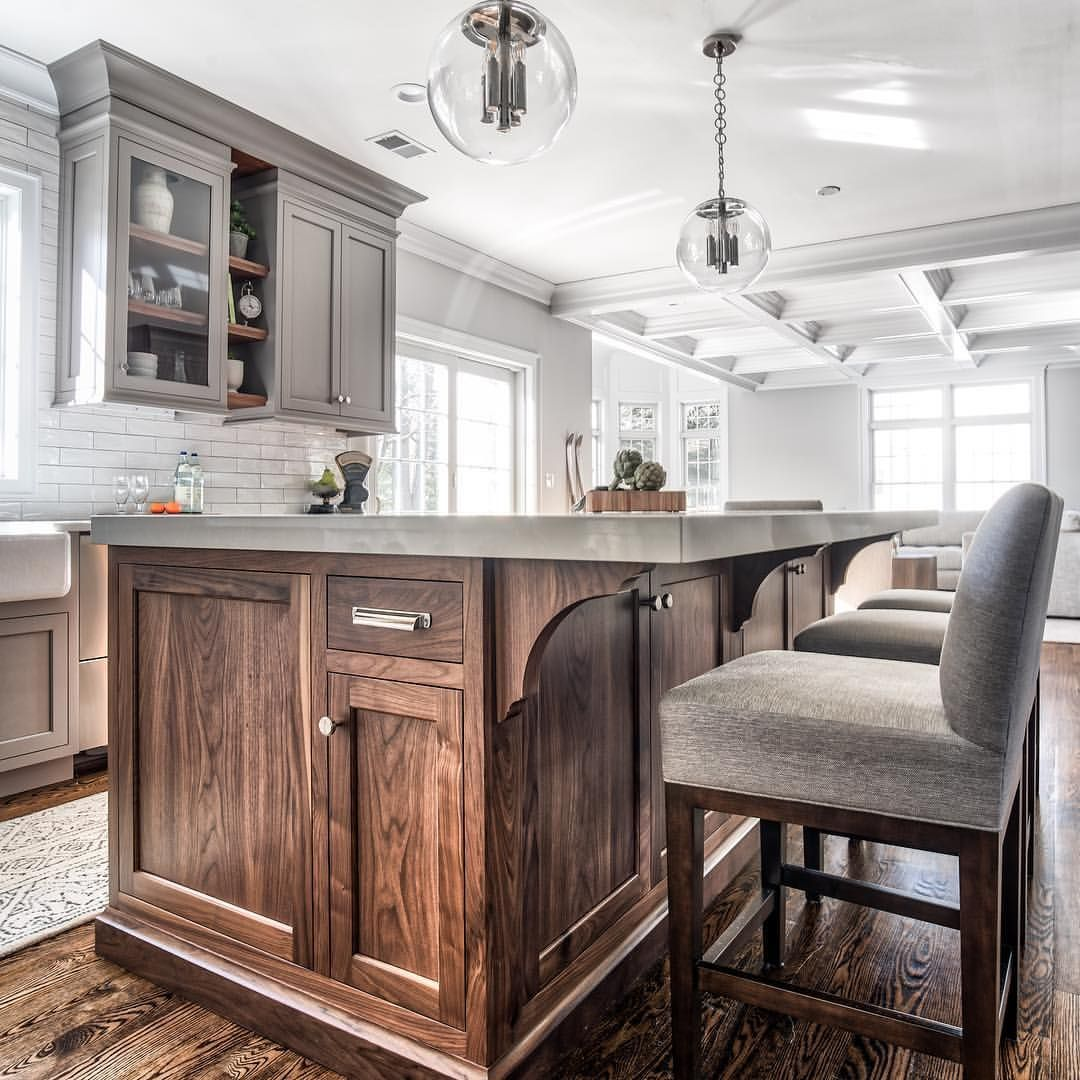 The Island Millwork Is Natural American Black Walnut In A 25 Sheen Level The Island Cabinetry Minus The Bracke Modern Kitchen Design Home Home Decor Kitchen