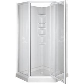 Upstairs Bathroom Aqua Gl H X W L High Gloss White Neo Angle Corner Shower Kit