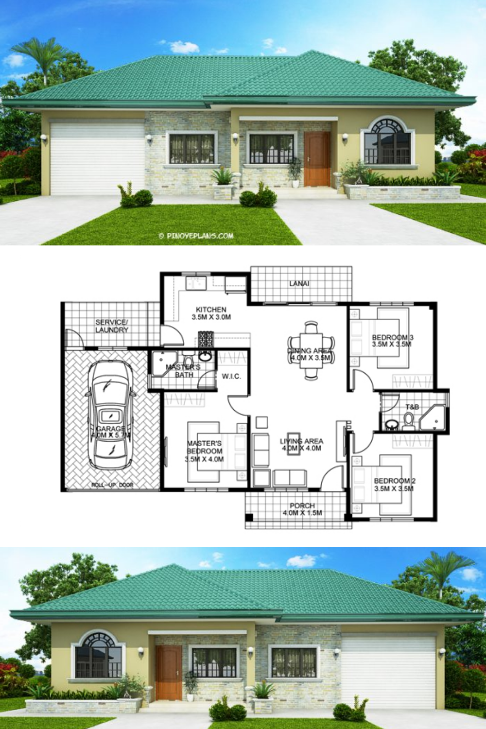 One Storey Bungalow House With 3 Bedrooms Pinoy Eplans Affordable House Plans House Plan Gallery Small Modern House Plans