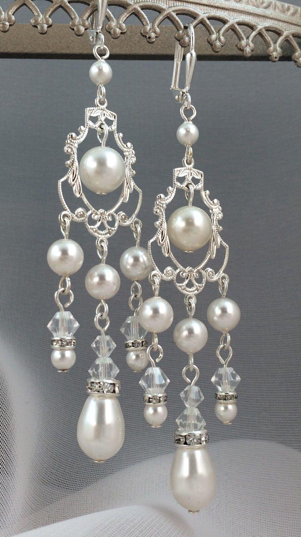 Bridal Rhinestone Crystal and Similated Pearl Chandelier Earrings ...
