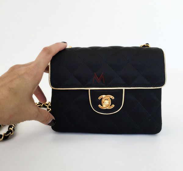 eaddf17700bd CHANEL- Vintage Mini Square Black Satin Quilted Gold Trim Classic Flap Bag.  RARE!!