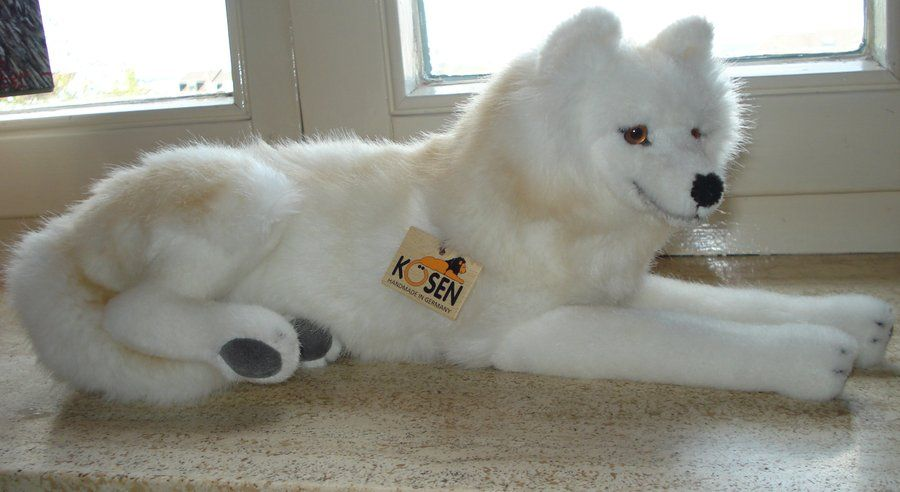 Lying Arctic Wolf Plushie Made By Kosen Toys Plushies