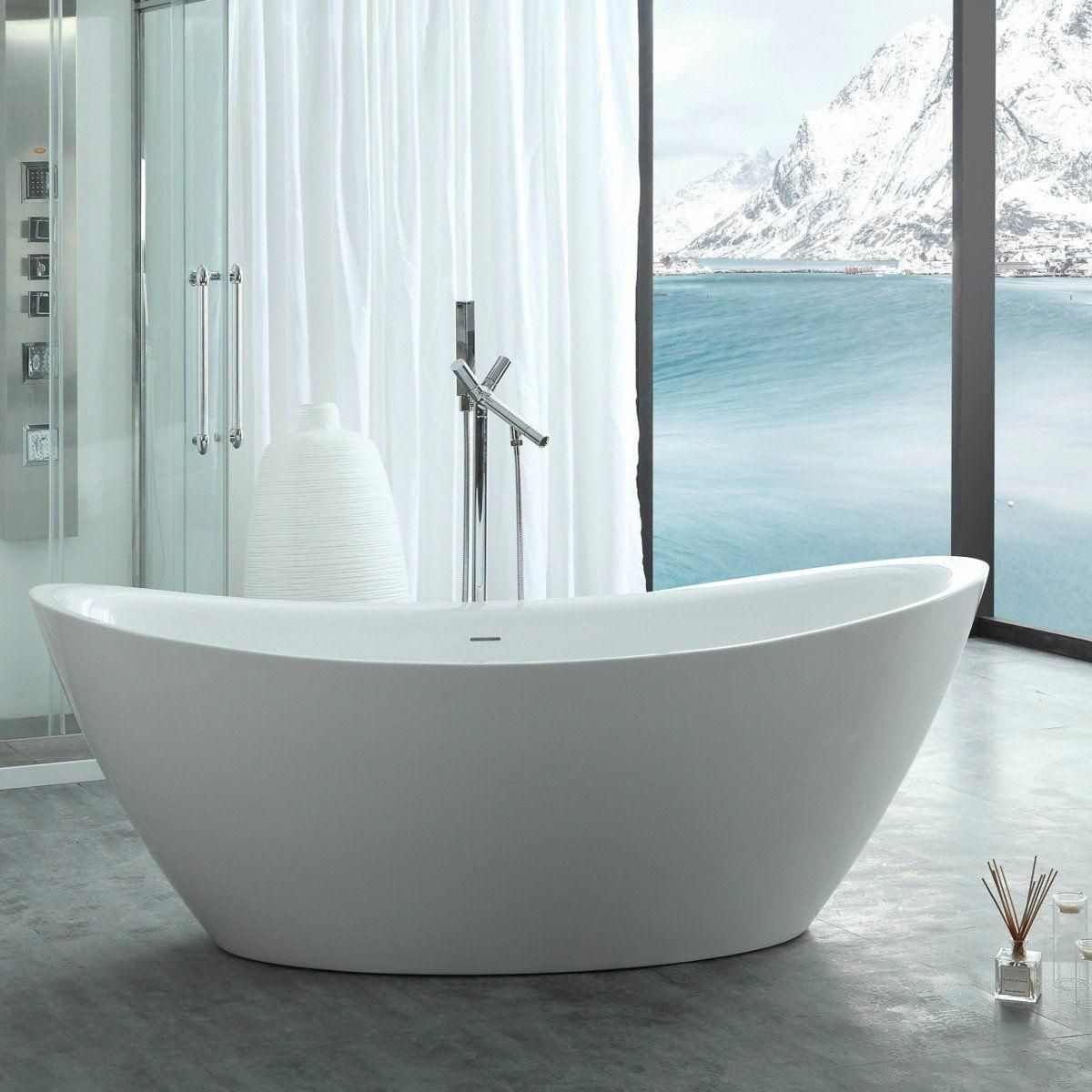 Virtu Usa Serenity 67 Freestanding Soaking Bathtub Only White In