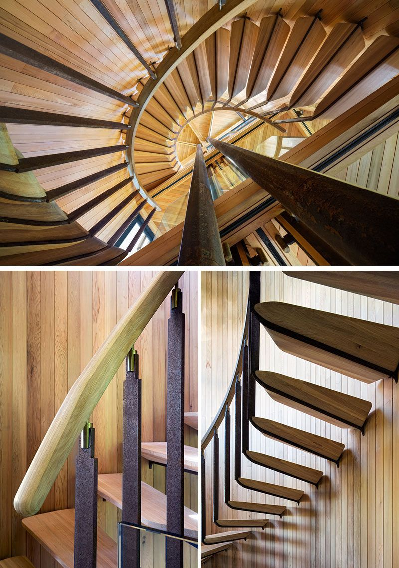 This Curvaceous Wooden House Sits Among The Trees. Wood HandrailHouse  SittingSpiral StaircasesWooden ...