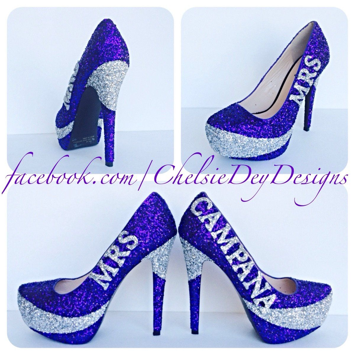 9045ff5e5c87 Glitter Wedding High Heels, Purple Silver Platform Pumps with New Last Name
