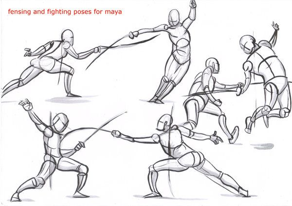 Fencing Poses For Maya 02 By Alexbaxthedarkside On Deviantart Fighting Poses Drawing Reference Drawing Poses