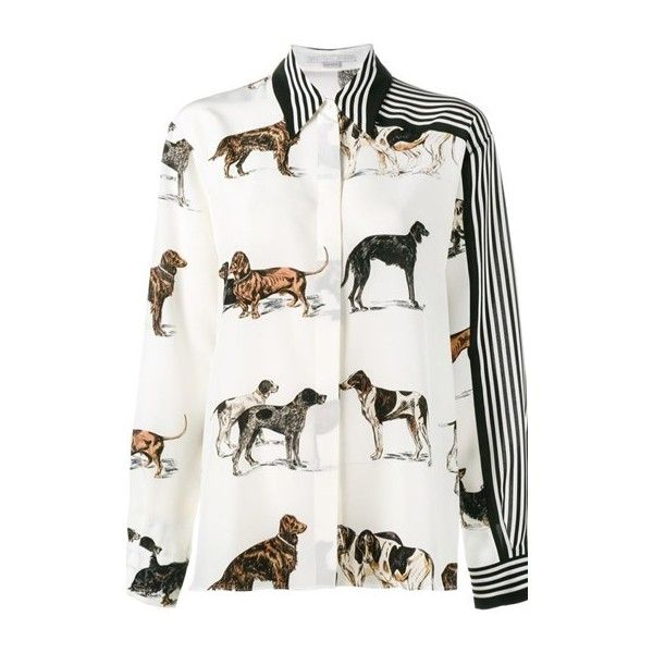 STELLA MC CARTNEY Dog and Stripe Print Shirt ($860) ❤ liked on Polyvore featuring tops, multi, print top, white shirt, dog print shirt, silk shirt and striped shirt