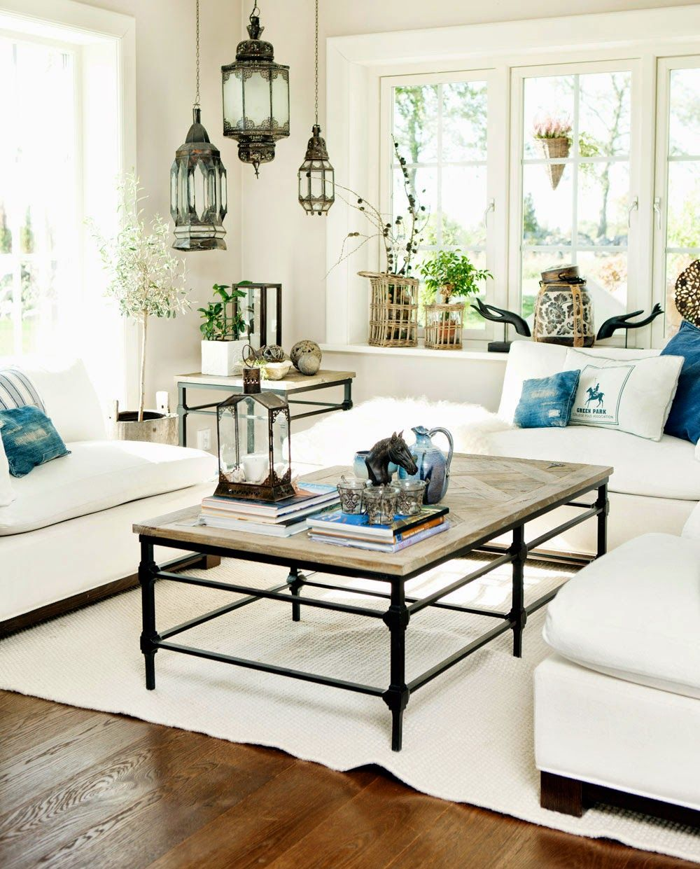 Beautiful New England Home Decorating Ideas Part - 4: The Hanging Lanterns Add An Exotic Touch To This Almost All White Living  Room. Home Decor Inspiration :: Elements Of A New England Home