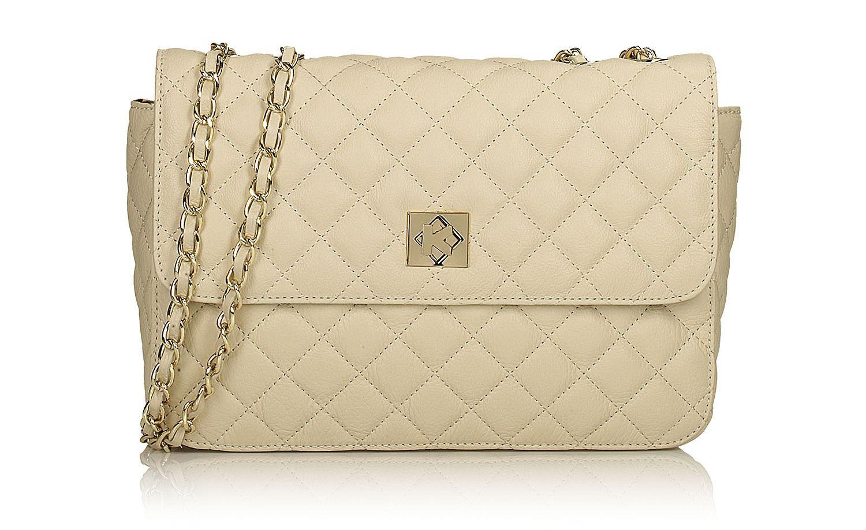 b978c7a3a043a Beżowa torebka damska wykonana z wysokiej jakości skóry licowej , została  ozdobiona eleganckim pikowanym wzorem przeszyć