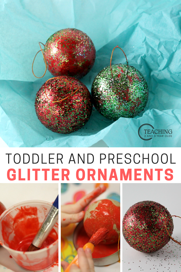 Super Easy Ornament With Glitter Toddler Ornaments Toddler Christmas Christmas Activities For Toddlers