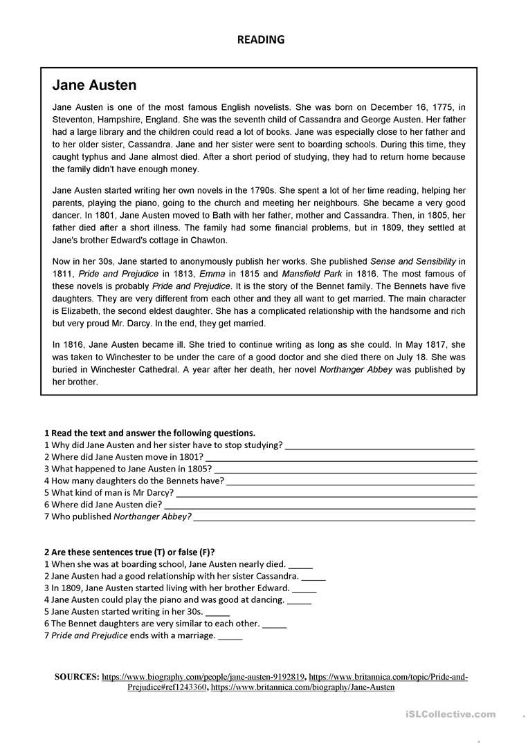 Jane Austen Reading Worksheet Free Esl Printable Worksheets Made By Teachers Insegnanti Di Inglese Insegne Inglese [ 1079 x 763 Pixel ]