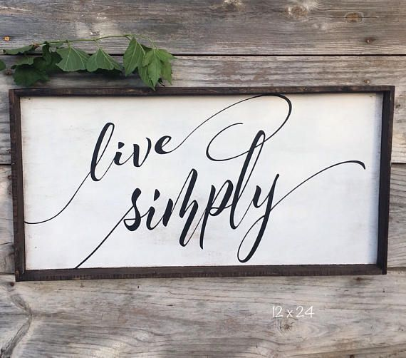 LIVE SIMPLY Wood Sign 12 x 24