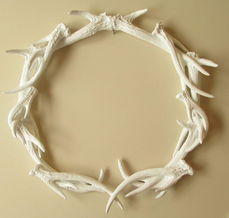 Wreath, Antler Wreath, Woodland Decor, Deer, Antlers, White Antlers ...