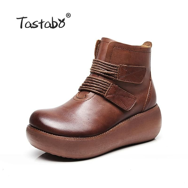 ed96b173b0 Tastabo Platform Boots Women Genuine Leather Ankle Boots for Women Soft  Black Martin Shoes Ladies Casual