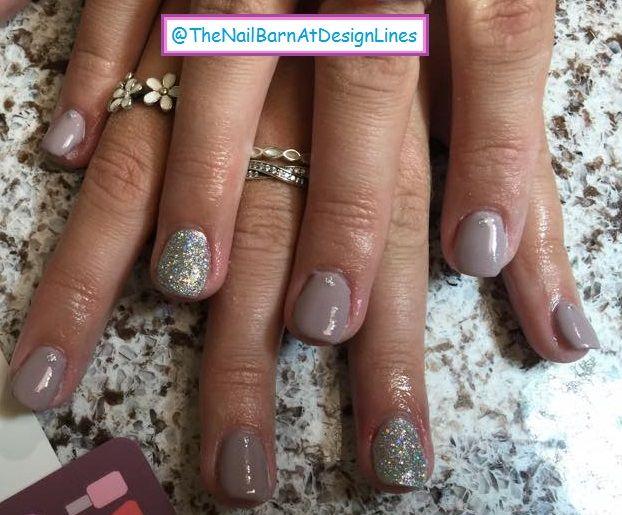 Nail Art: Natural Gel Polish with Glitter Party Nail and Rhinestone ...