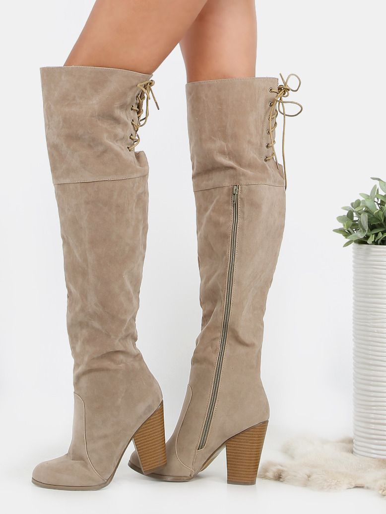 Online shopping for Suede Lace Back Stacked Heel Boots SAND from a great selection of women's fashion clothing & more at MakeMeChic.COM.