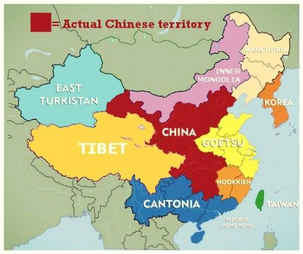 Alternative Map Of China Split Up Roughly Into Ethnic Regions