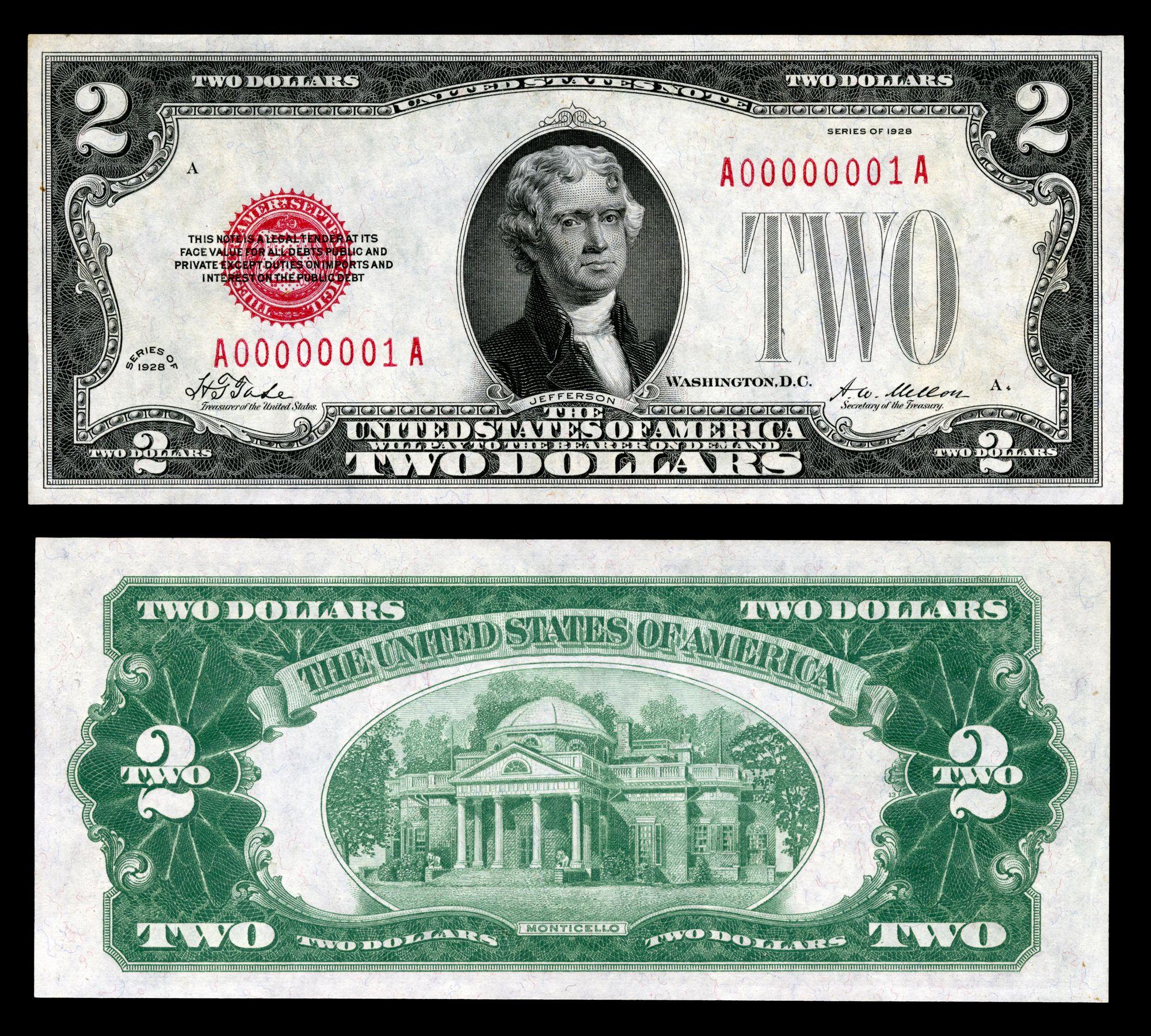1929 2 Dollar Bill Design Featuring Monticello On Reverse