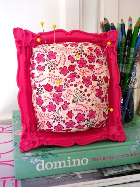 A cute, framed pincushion I could make to go with my new sewing machine