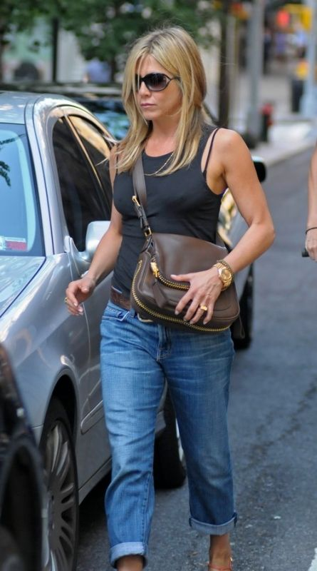 143ec0d4df Jennifer Aniston wearing Tom Ford Jennifer sunglasses Tom Ford Jennifer  Flap Over Zip Bag