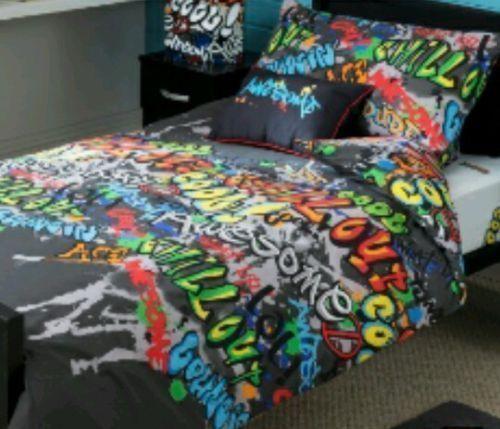 Graffiti Single Bedding Duvet Cover Set Cotton Blend Multi Colours Graffiti Bedroom Bed Duvet Covers Duvet Bedding