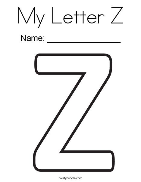 My Letter Z Coloring Page Twisty Noodle Lettering Letter Z