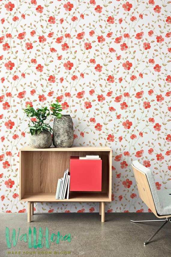 Peel And Stick Wallpaper With Red Floral Pattern Removable Etsy Floral Wall Sticker Pattern Wallpaper Wall Wallpaper