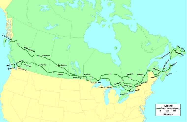 Trans Canada Highway Map The Trans Canada Highway   Vivid Maps | Trans canada highway