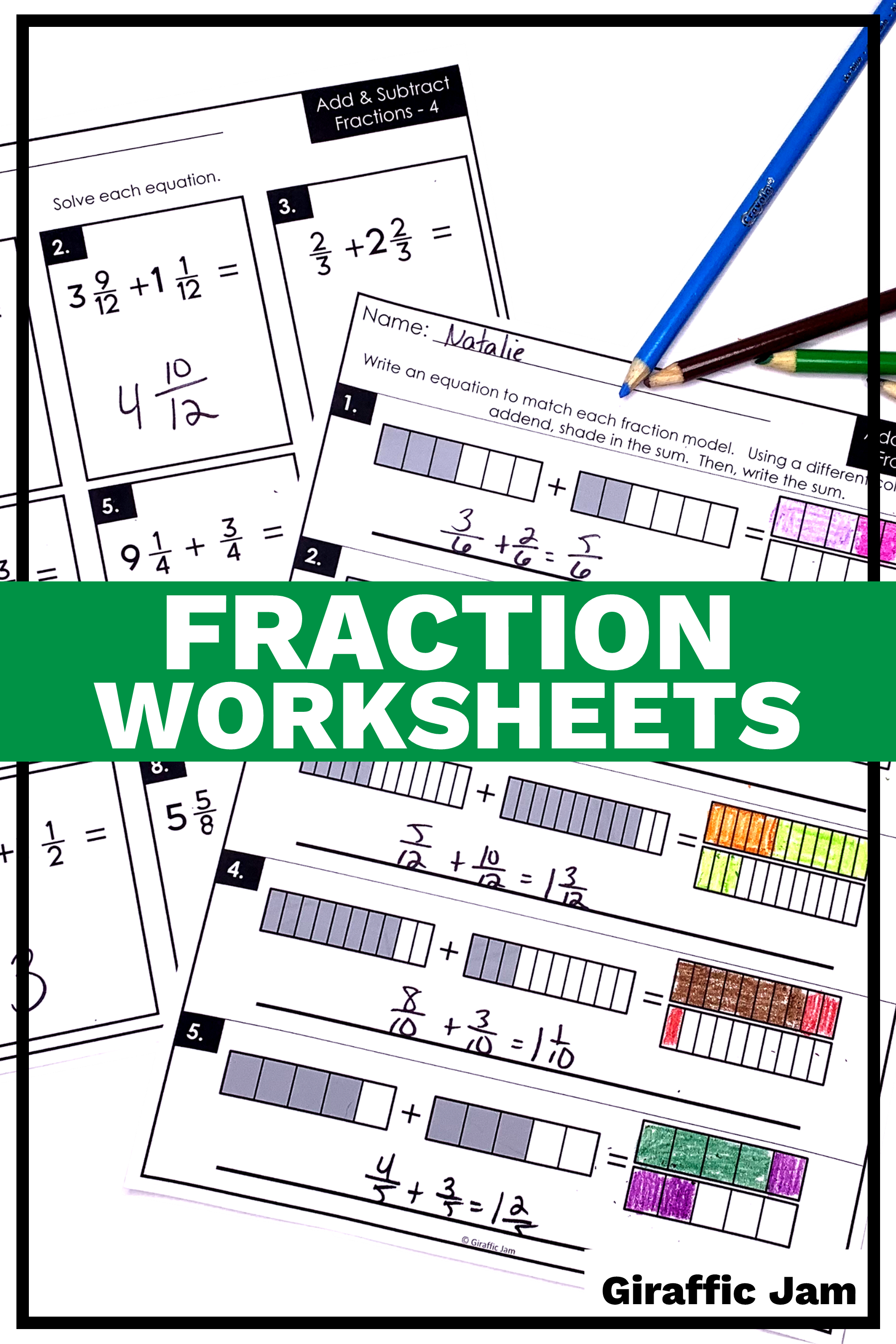 4th Grade fractions   Adding Fractions   Subtracting Fractions   Fraction  worksheets  …   Adding and subtracting fractions [ 2700 x 1800 Pixel ]