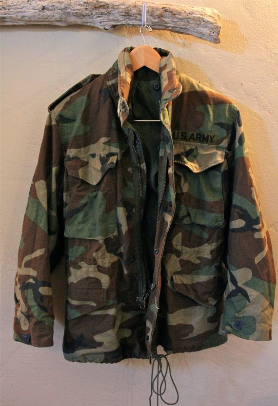 Vintage Camo Army Jacket Coat With Hoodie 1960s by TheBlackVinyl ... edac2a17899