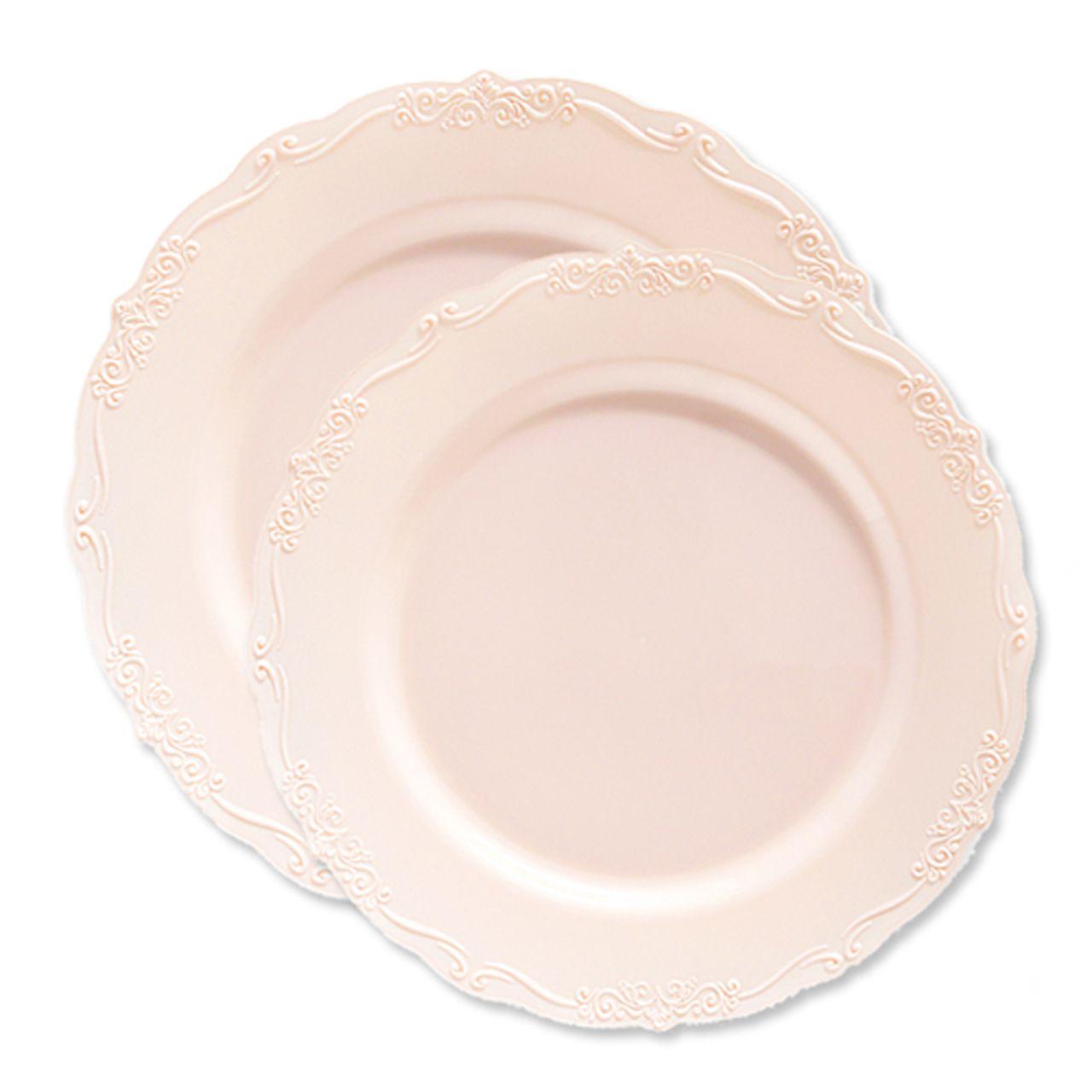 Casual Pink Embroidered Edge Plastic Plates Set Elegant Plastic Dinnerware Plastic Plates Wedding Disposable Wedding Tableware