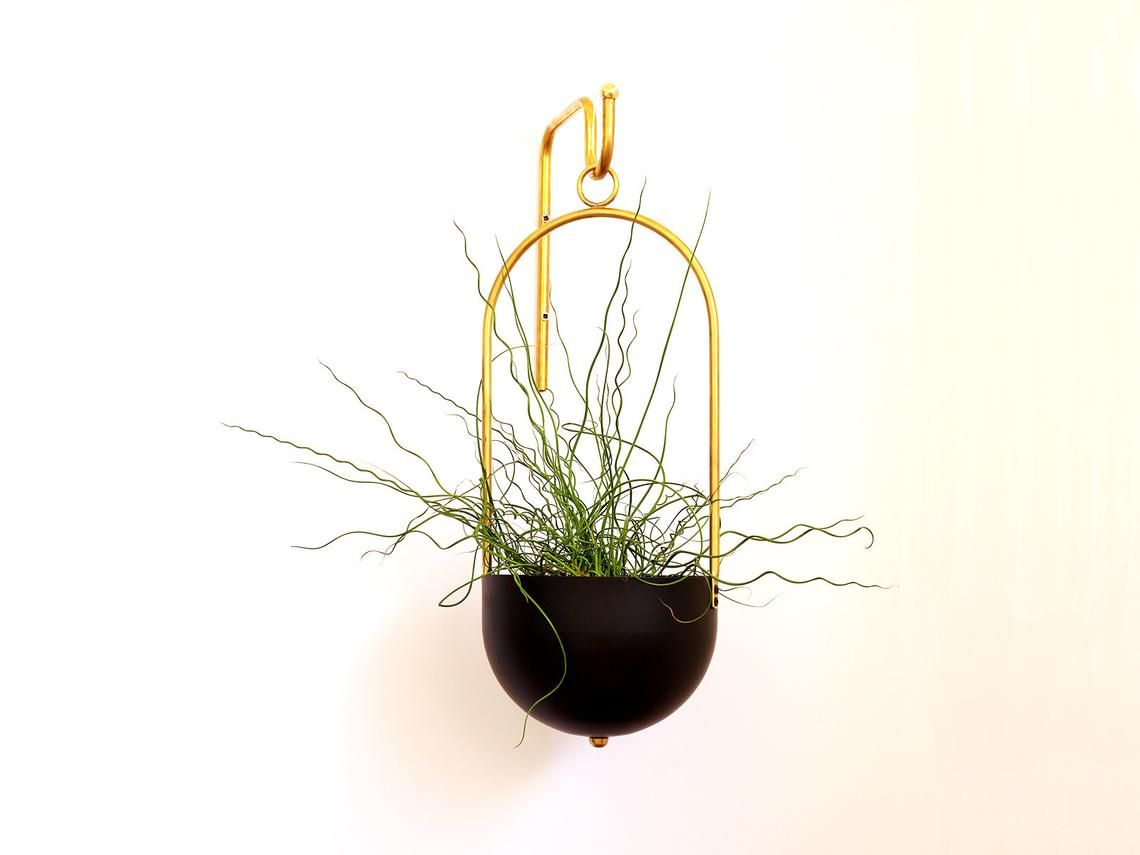 Planter Hanger Minimalist Plant Bracket Brass Wall Hook Boho