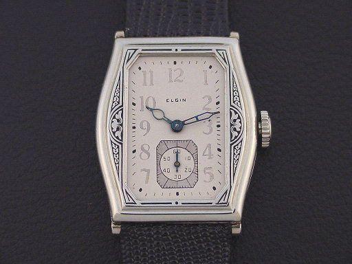 c.1928 : Scarce Elgin Home Run 667 Men's Art Deco Wristwatch 14K White Gold Fill ca. 1928