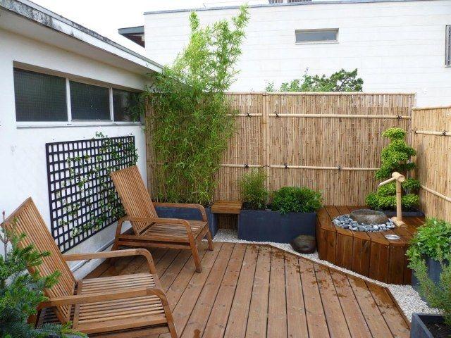 bambus stangen wand balkon sichtschutz ideen zen wasserspiel ... - Bambus Kubel Sichtschutz Terrasse