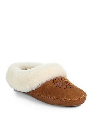 c8647c2dd5d Tory Burch Coley Shearling-Lined Suede Slippers
