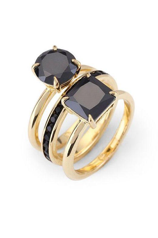 Black & Gold Stacking Ring Set ♡