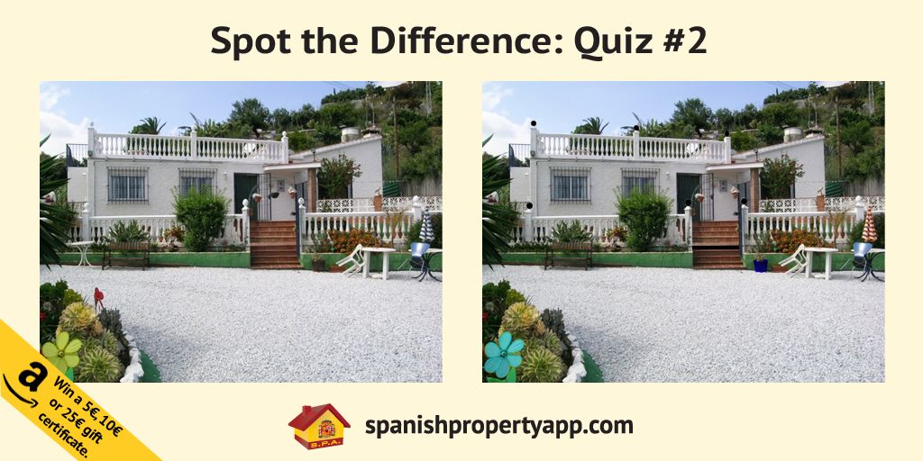 Guess the differences between the two images in the fun quiz by Spanish Property App. Spot The Difference Quiz 2 Competition. WIN Amazon gift Certificates!