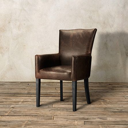 Aiden Leather Dining Arm Chair In Brown And Black