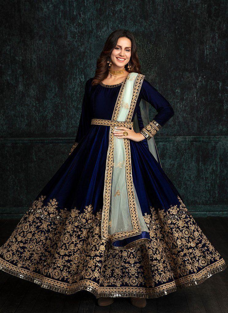 2eb0d69af Navy Blue Velvet Embroidered Anarkali. Navy Blue Velvet Embroidered Anarkali  Anarkali Dress, Anarkali Suits, Pakistani Dresses, Indian Gowns