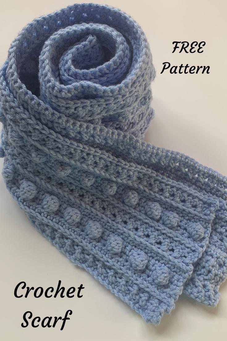 How To Crochet A Bobble Scarf In 2020 Crochet Scarf Crochet Pattern Crochet Scarf