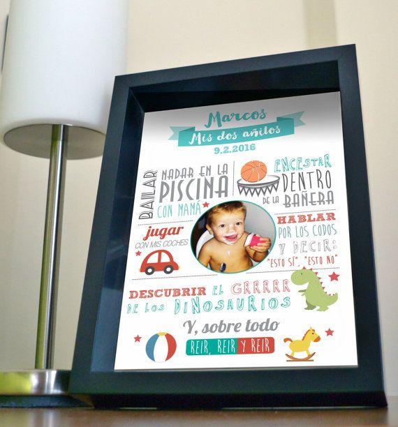 4cef33ca9 Lámina decorativa nacimiento/cumpleaños para bebé-niño (personalizada) +  marco Cuadros Niñas
