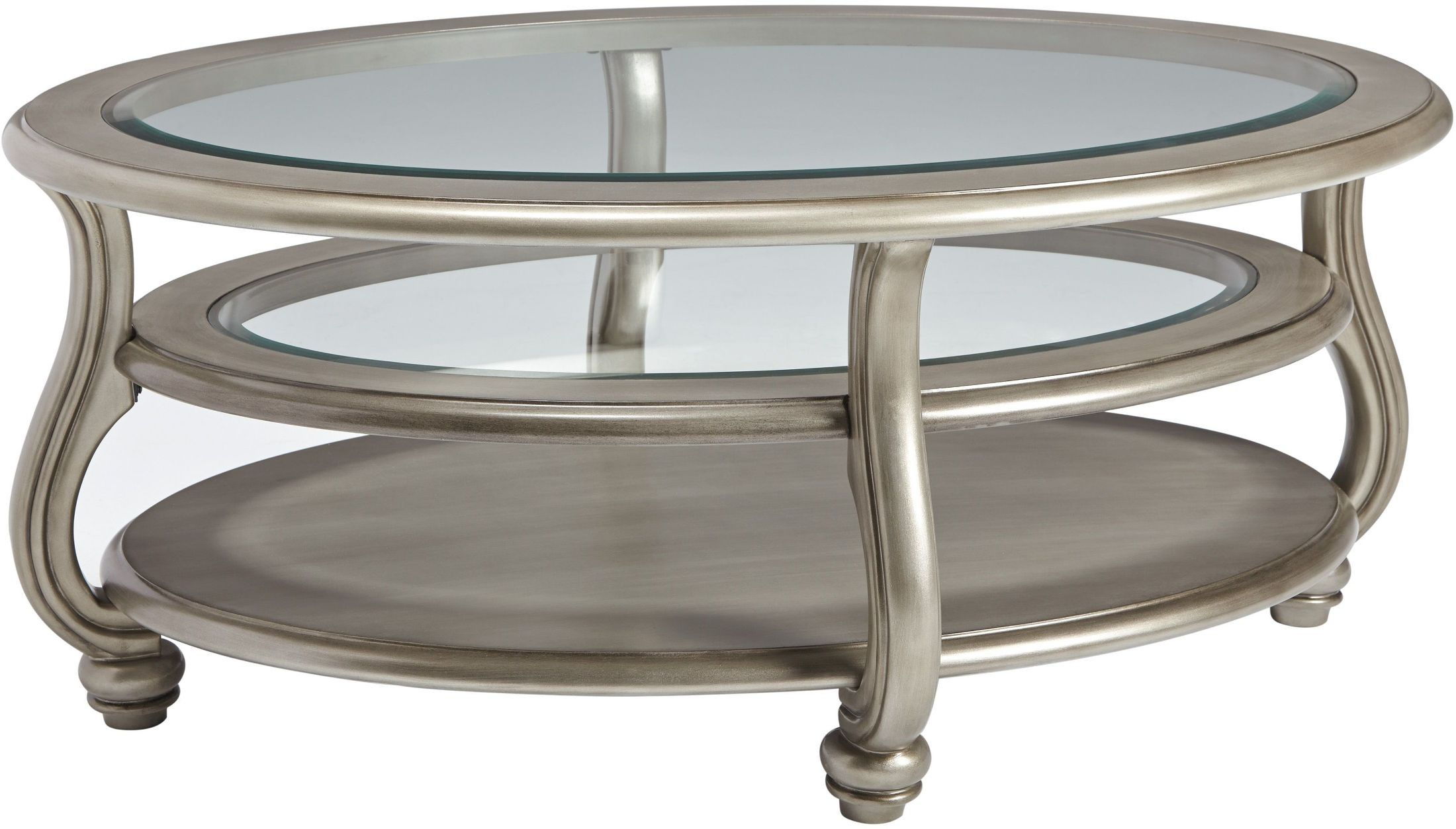 Coralayne Silver Oval Cocktail Table Table, Cofee table