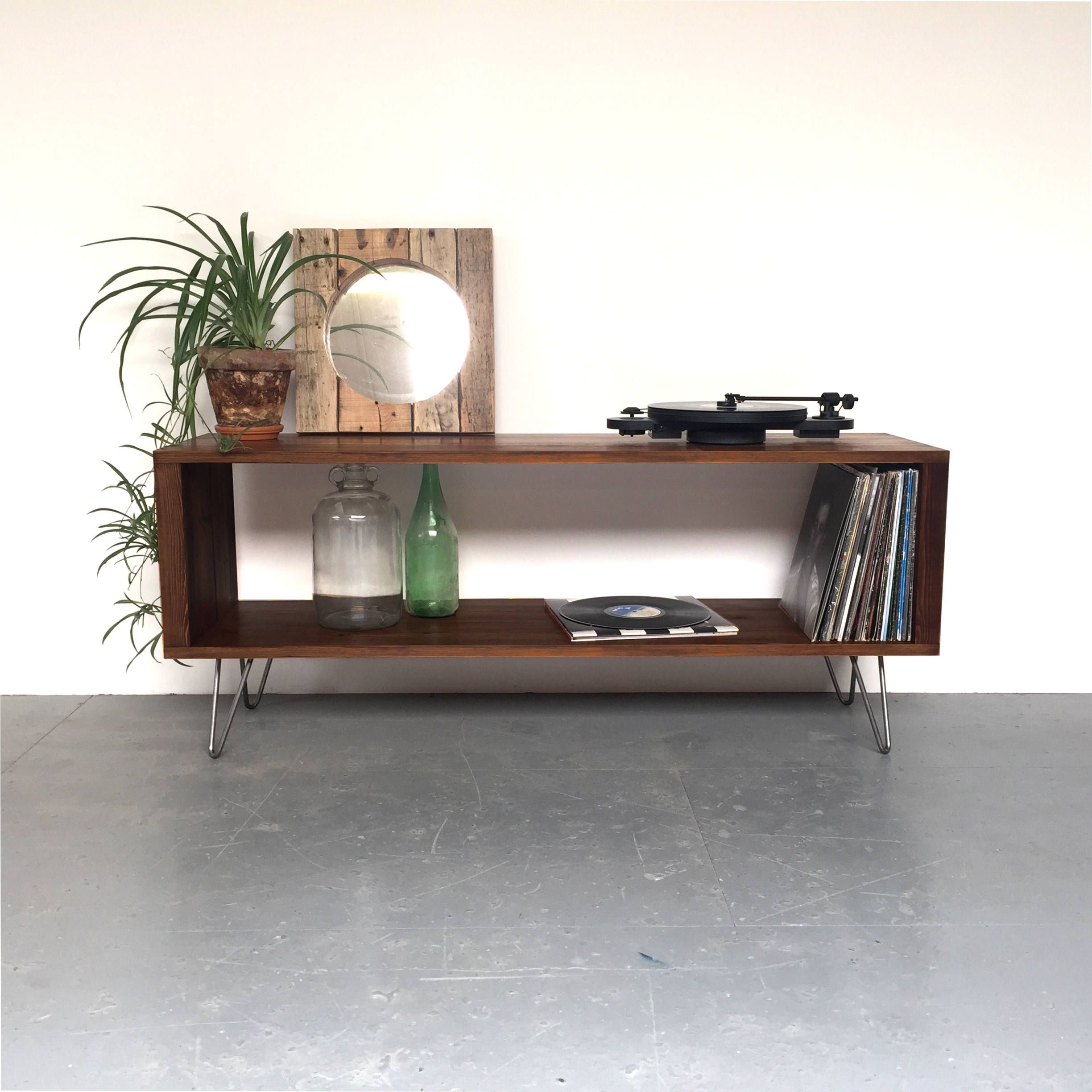 Stanton Large Record Player Stand, Vinyl Storage Cabinet, Console Coffee  Table Solid Wood On Mid Century Hairpin Legs.
