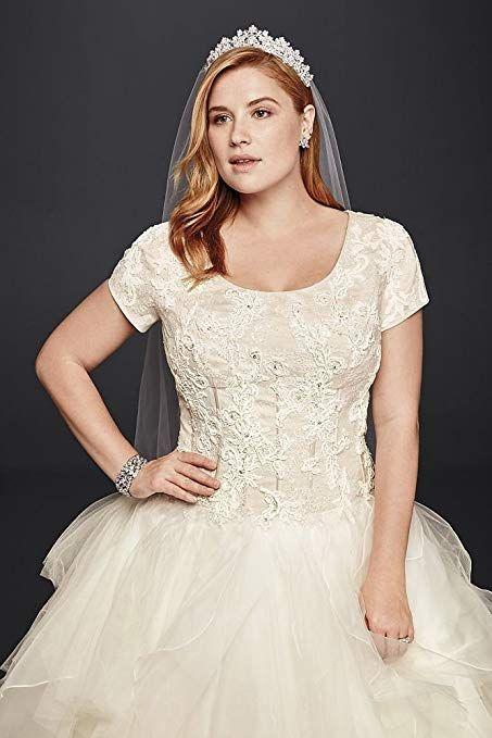 128f860cc6db7 David s Bridal Oleg Cassini Plus Size Modest Ruffle Wedding Dress Style.